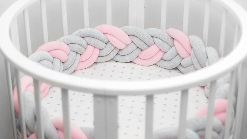 통기성 아기 컬러 땋은 침대 범퍼 소프트 베이비 안전 침대 범퍼