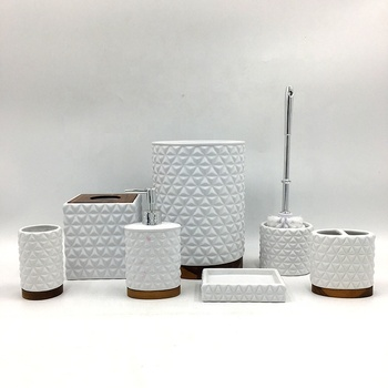 Wholesale Simple Ceramic Toothbrush Holder 7 Piece Bath Accessories