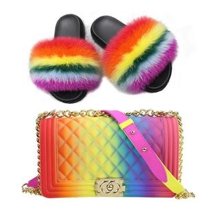 100% Real Fox Fur Slippers Women Fur Slides Rainbow Shoe Cute Travel Furry Shoes Jelly Purse Handbag Set