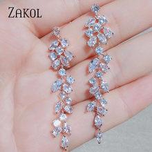 ZAKOL новые циркониевые длинные серьги с листьями, для элегантных женщин, свадебные украшения, аксессуары в подарок FSEP2232(Китай)