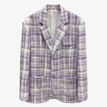 [EAM] женский фиолетовый клетчатый Блейзер большого размера, новая свободная куртка с отворотом и длинным рукавом, модная демисезонная куртк...(Китай)