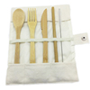 cutlery set with beige bag