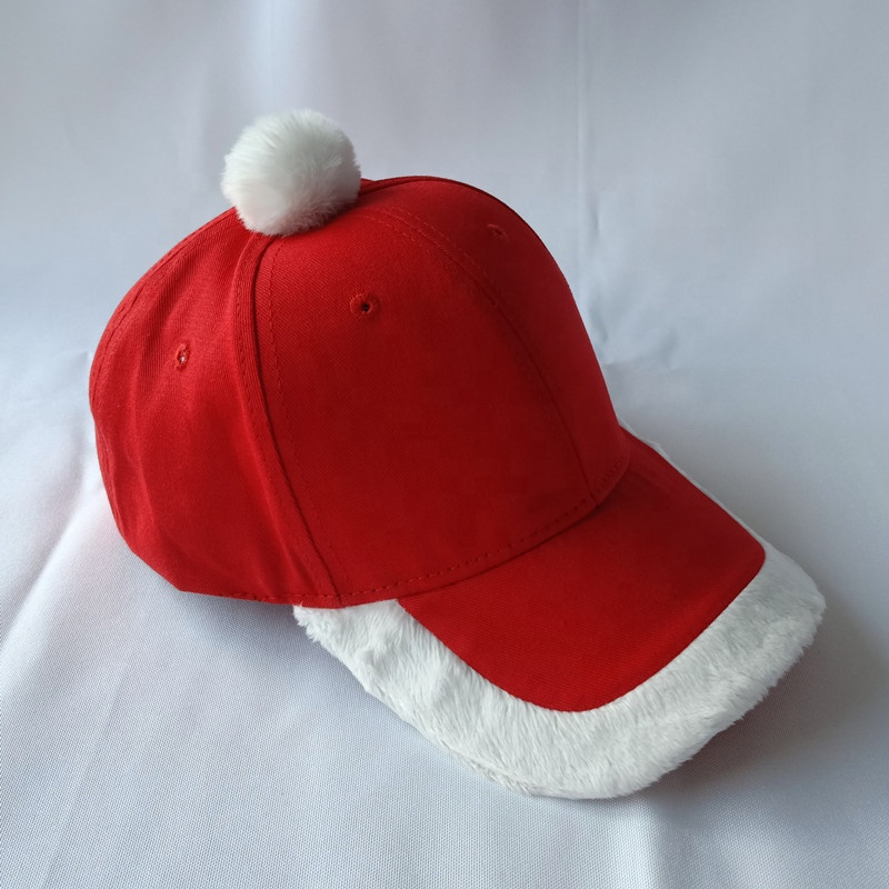 Amazon hot style high quality cotton red christmas baseball cap santa <strong>hat</strong> with White plush decoration