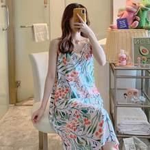Сексуальное длинное платье на бретельках, весна-лето, ночная рубашка для женщин, свежий принт, Студенческая одежда для сна, ночные рубашки, ж...(Китай)