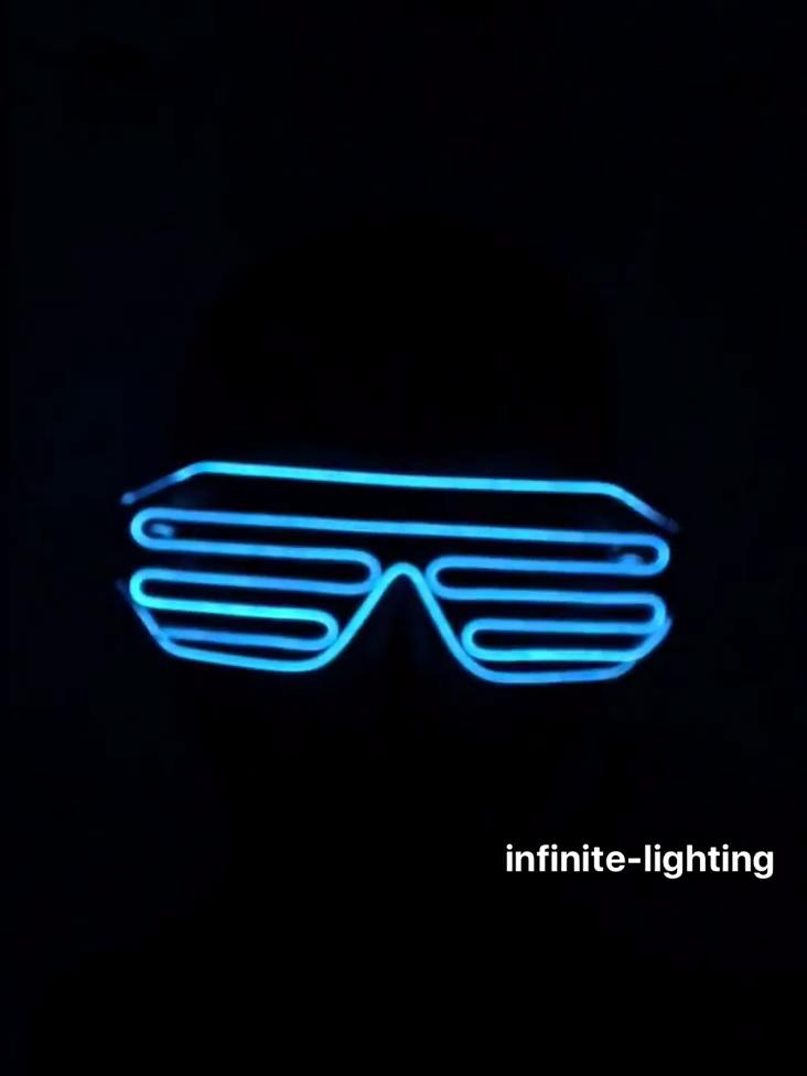 Mode Neon LED Light Up Shutter Shaped Glow Sonnenbrille Rave Kostüm Party DJ Helle