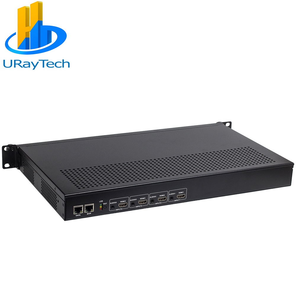 Uray Tech 1U Rak HEVC H.265 HDMI Video Encoder Live Streaming HD IPTV Encoder 4 Saluran HDMI untuk HTTP RTSP RTMP Encoder