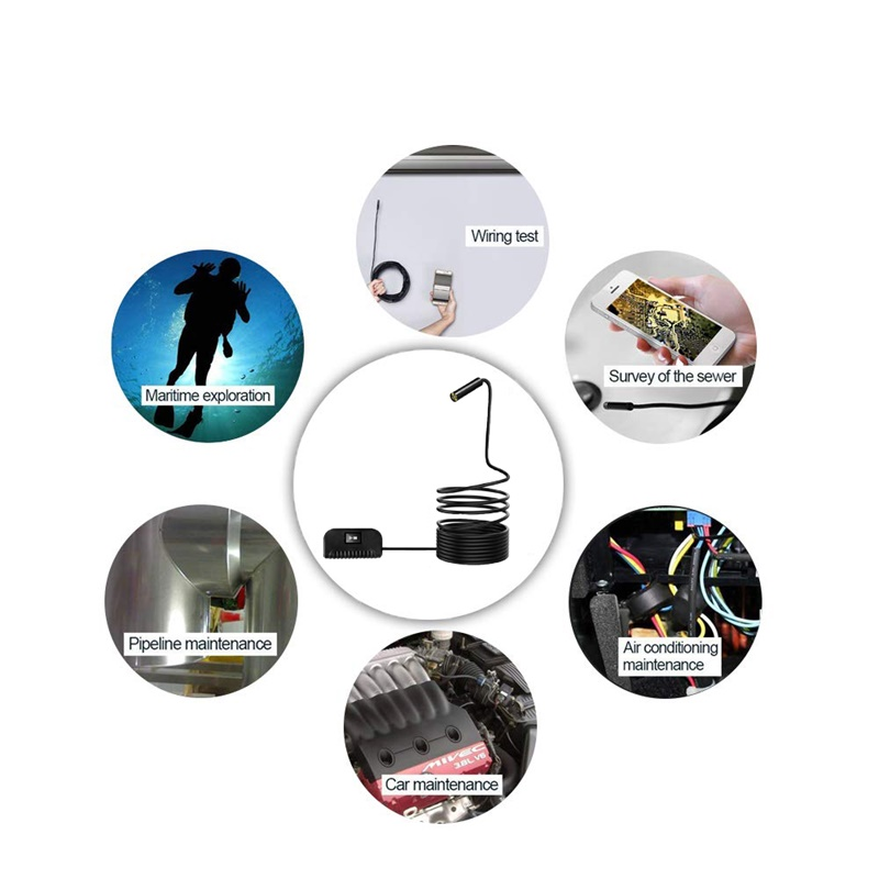 Harde Kabel WIFI Endoscoop Mini Waterdichte Camera 8MM 8 LED Draadloze USB Endoscoop Borescope