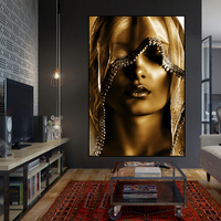 Abstract Gold Women Beautiful Makeup Oil Painting on Canvas Poster Wall Decor Pictures