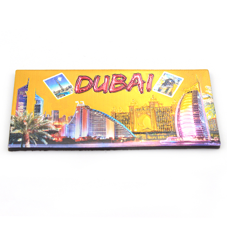 Dubai souvenir rubber soft fridge magnet pvc 3d refrigerator tourist city name fridge magnet with dubai building tower photo