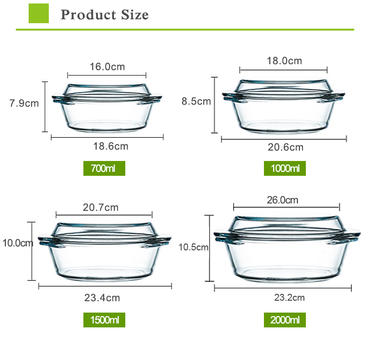 Square shape 1.0L 1.5L 2.5L glass casserole pot