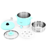 Wholesale Custom 1.2L Mini Stainless Steel Electric Skillet Electric Cooker Food Steamer Hot Pot