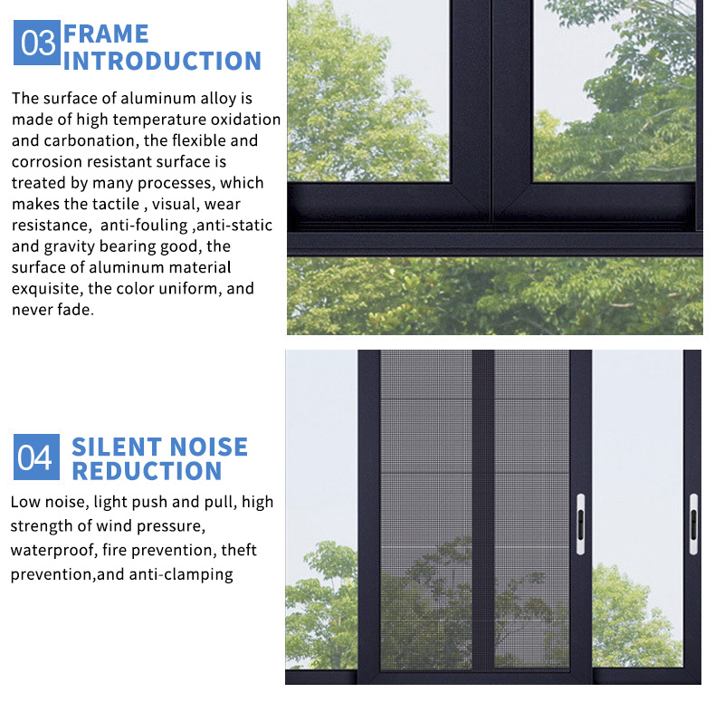 Best Selling 3 track sliding window Aluminum frame Doule Tinted Glass Sliding Window Soundproofing Materials for windows