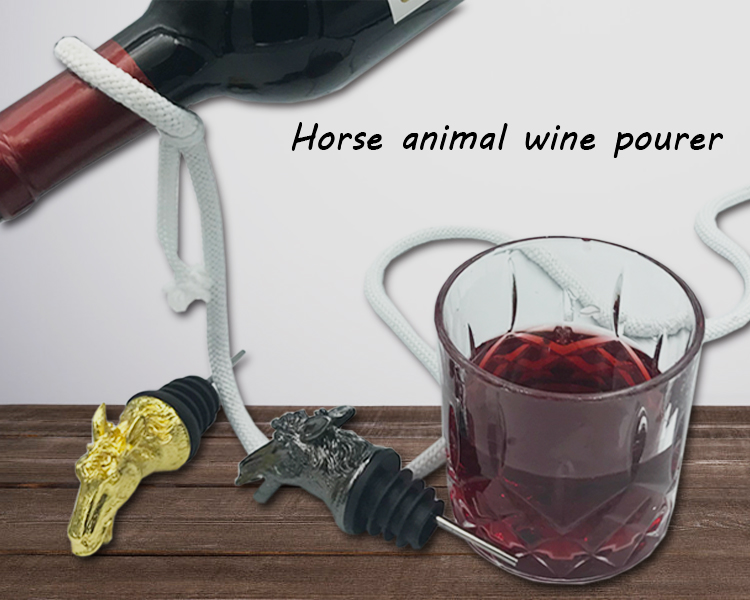 4 Colors Available Metal Horse Wine Bottle Animal Head Pourer