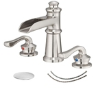 BWE Cupc Certified WideSpread Brass Waterfall Brushed Nickel Spot Defense 8-16 inch 2 Handle Bathroom Sink 3 Hole Faucet