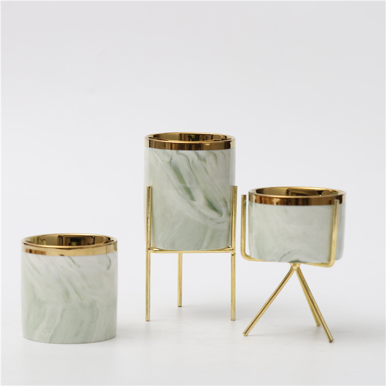 Cheap wholesale luxury modern fancy candle jar wedding decorative marble ceramic candle container with gold rim