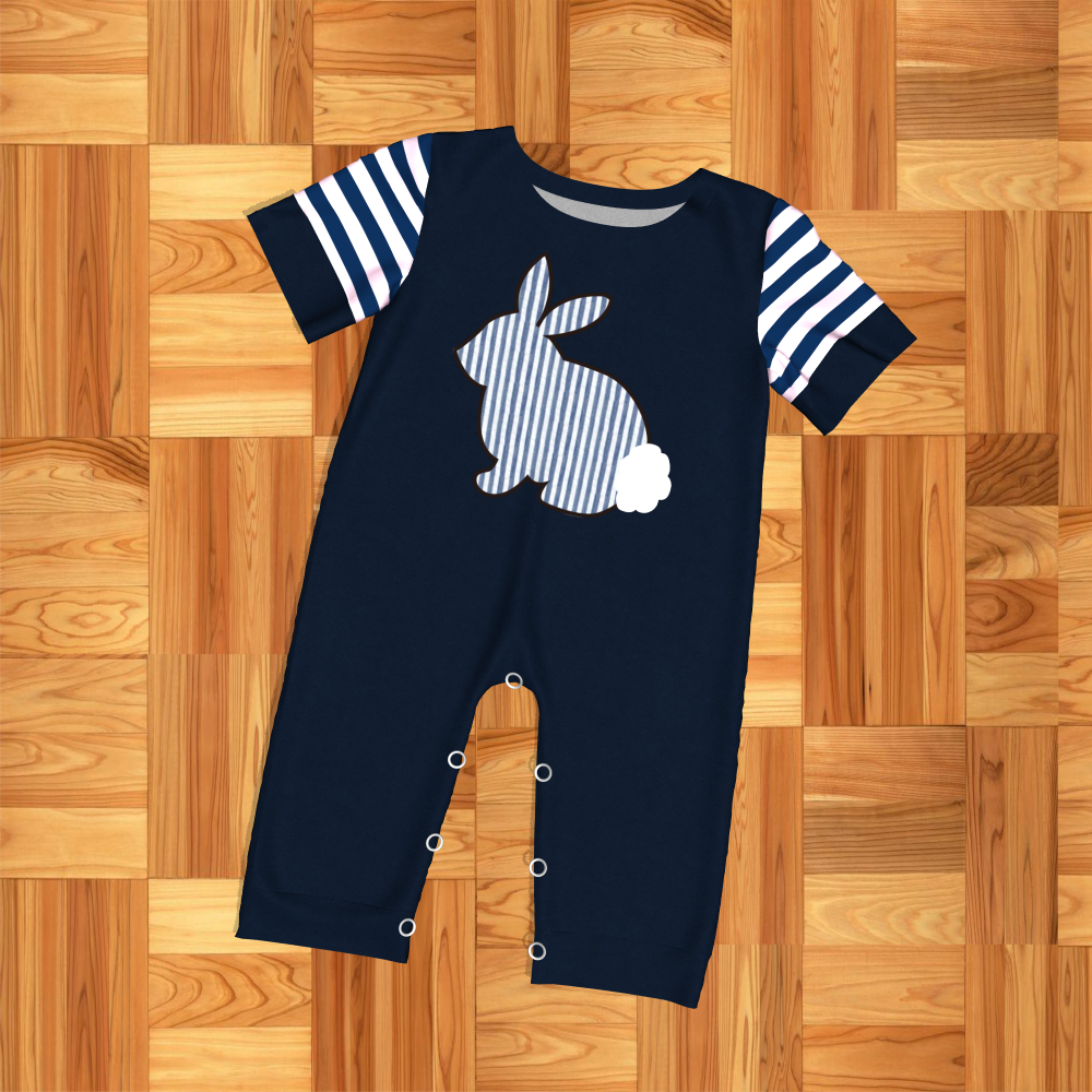 conice nini new  design Easter bunny embroidery short sleeve boy romper