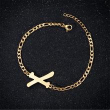 Женский мужской браслет из нержавеющей стали A-Z анклет с буквами цепочка для ног Алфавит ювелирные изделия подарок на день рождения(Китай)