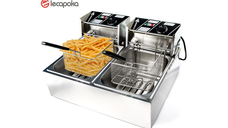 Mesin Chip Ayam Memakai Kentang Goreng Goreng Membeli Lemak 2 Tangki Double Counter Industrial Penggorengan Dalam Elektrik Komersial