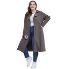 Custom Outerwear Women's Jackets Coats Turn Down Collar Women Windproof Plus Size Trench Coat