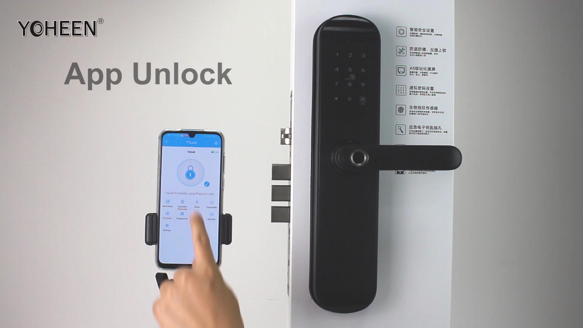 Yoheen Kunci Pintu Biometrik Elektronik, Pengunci Pintu Sidik Jari Biometrik Kartu IC Kode Digital WiFi, Aplikasi Bluetooth Cerdas, Keamanan Elektronik untuk Rumah