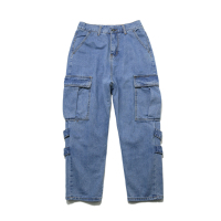 hot sale high quality faded wash cotton slim/straight fit cargo men's jeans