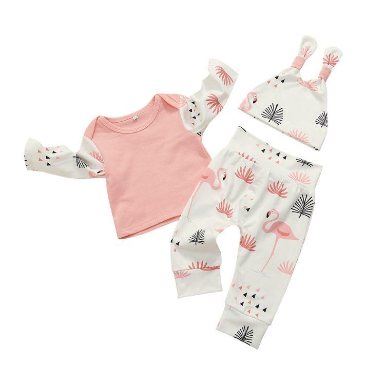 卸売秋綿幼児服長袖トップとパンツスーツ3ピース秋セット赤ちゃん女の子布セット子供