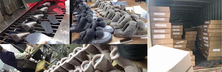 Hot Wholesale 100% Sheepskin Slippers Fur Lined Slippers