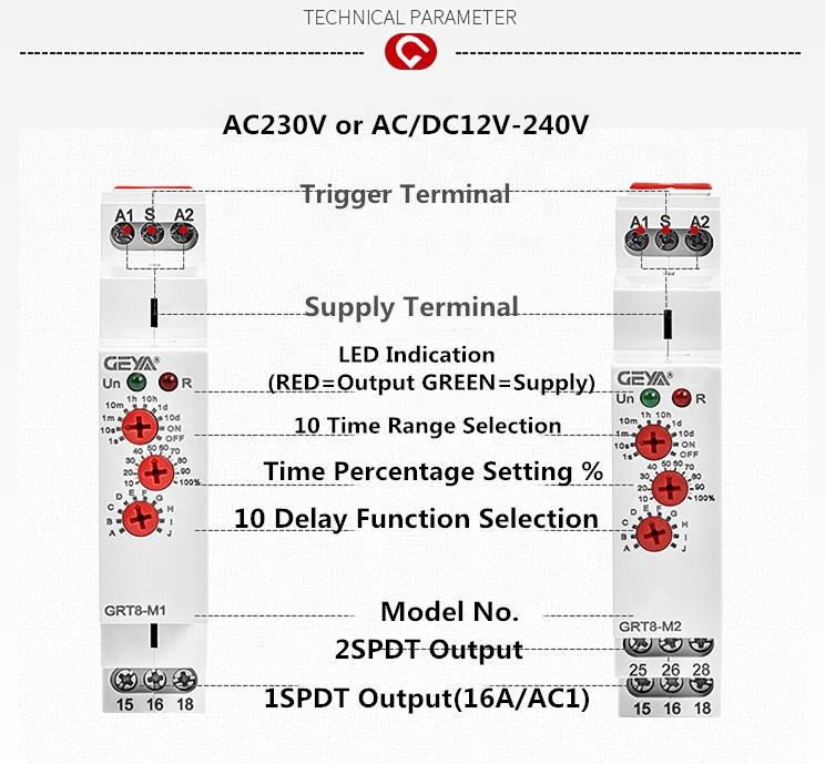 Relais temporis/é GRT8-M1 Relais temporis/é multifonctionnel avec 10 fonctions montage sur rail DIN 220V
