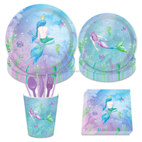 MM031 mermaid birthday party theme decorations supplies set party paper tableware disposable for dinner
