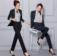 ladies formal office clothing suit korean 3 pieces coat skirt and fashionable pant suits