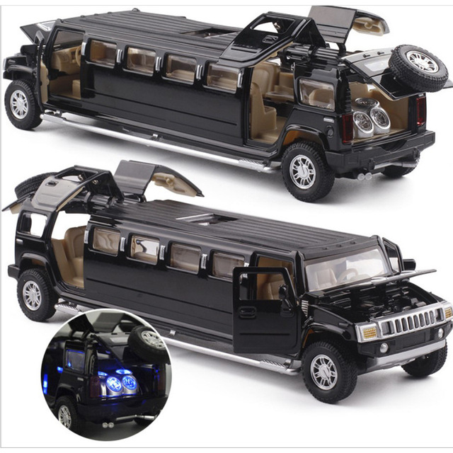 high simulation 1:32 alloy limousine metal diecast car model pull back flashing musical kids toy vehicles