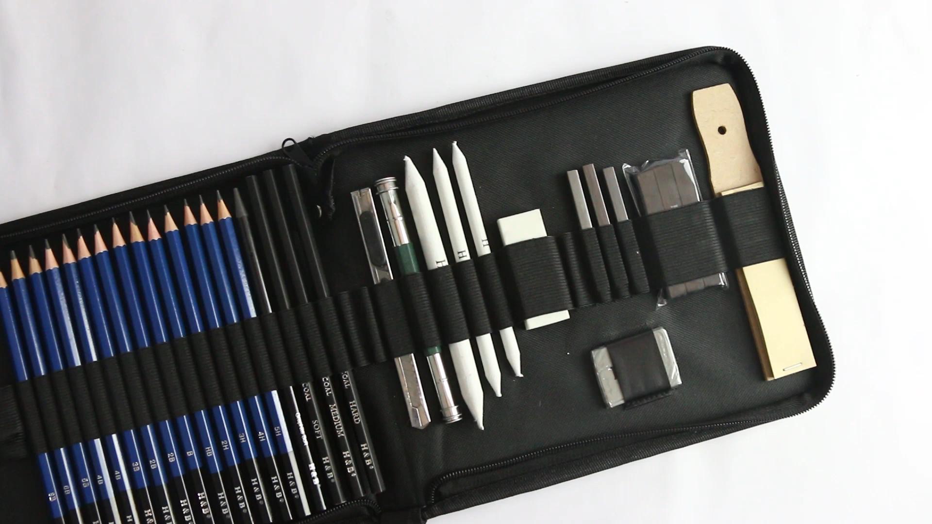 35pcs 스케치 연필 세트 전문 스케치 드로잉 연필 세트 나일론 가방