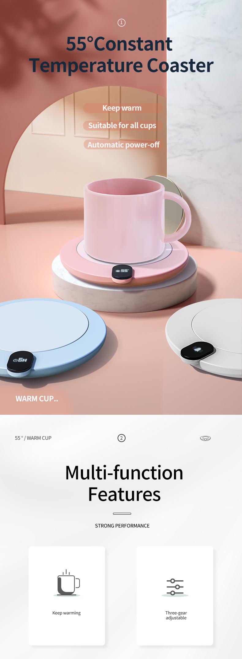 WYWD Customization Heating Coaster Smart USB Heating Mat warm Cup Automatic Power Off
