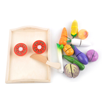 Hot Sale Funny Magnetic Food Cutting Fruit and Vegetable Cooking Wooden Toys Kitchen Set for Kids
