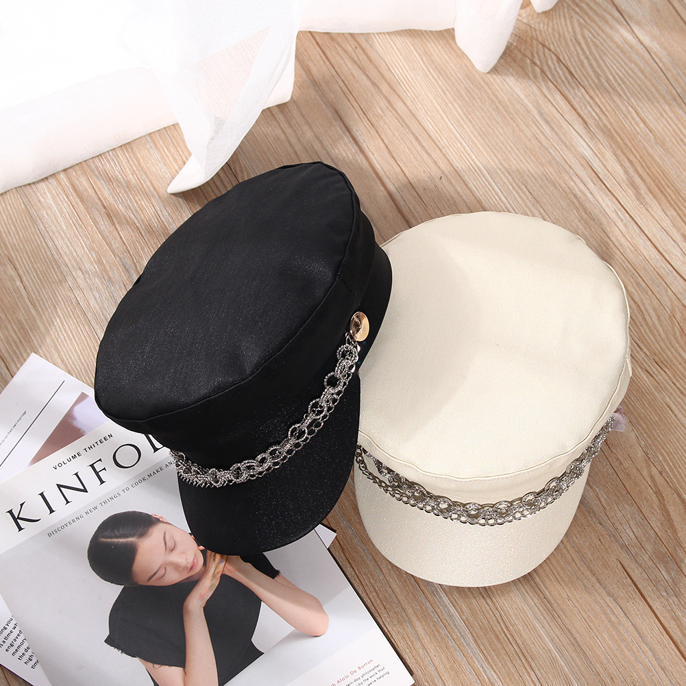 Hat female fashion chain leather cap flat top military cap Japanese wild painter hat autumn winter octagonal cap student