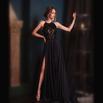Customized a line long black backless sexy evening dress prom gown