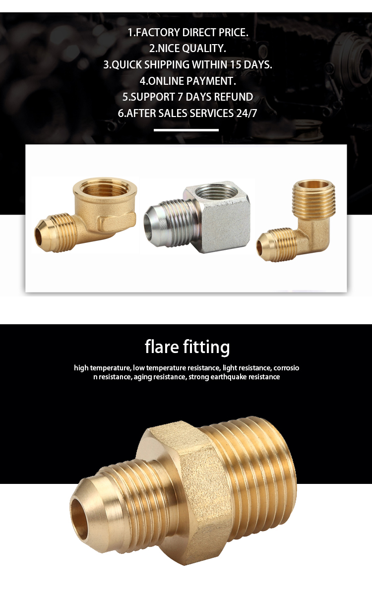 K523 male equal coupling  gas  pert pipe fitting  joint, brass flare fitting