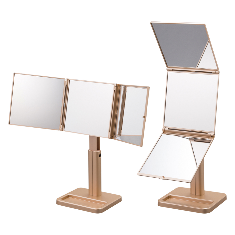 Convenient perfect style check-up foldable square three way 360 degree mirror