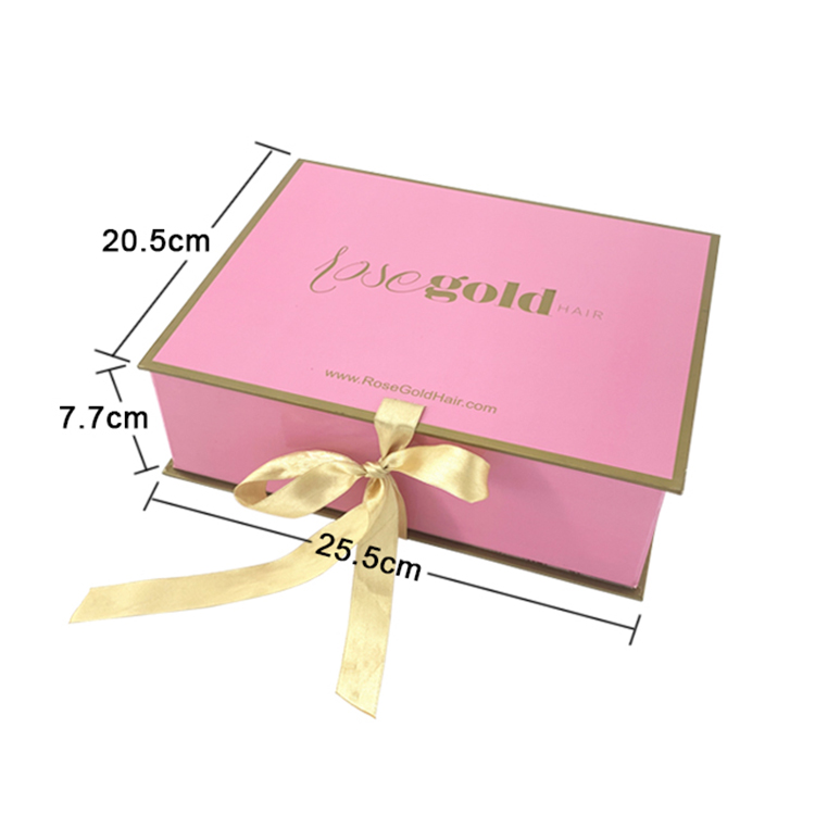 Custom elegant pink and marble paper folding hair extension packaging gift box