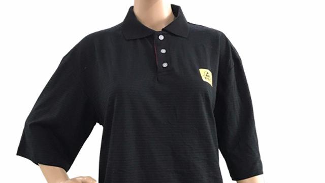 Fabrika OEM siyah mavi polyester antistatik polo esd tişört