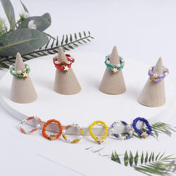 2021 Fashion Crystal Beaded Rings Cute Simple Colo
