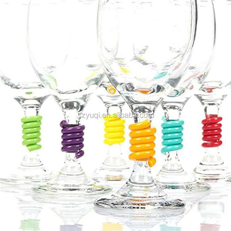 Stem Spring Set of 6 Multicolored Coil Shaped Silicone Wine Glass Marker Charms