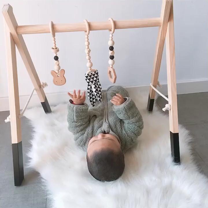 Houten Pasgeboren Opvouwbare Baby Play Gym Fitness Frame Activiteit Center Kinderen Educatief Speelgoed