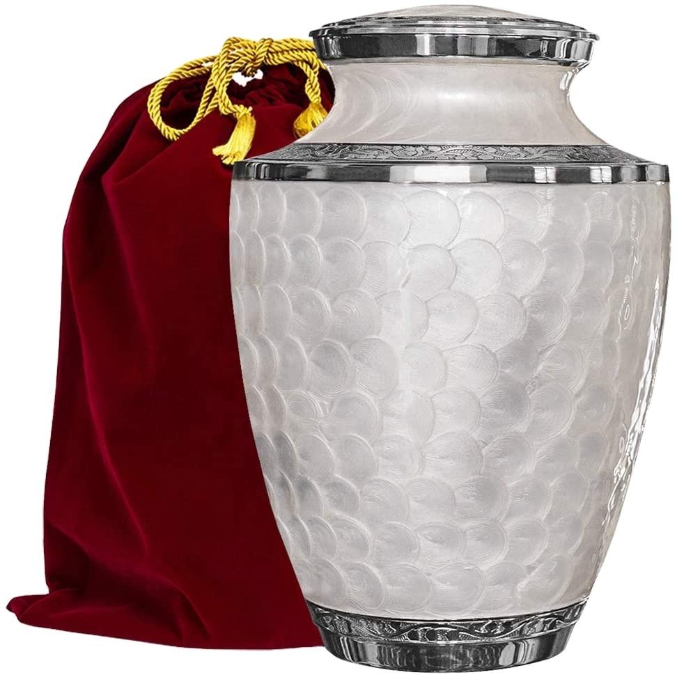 Weiß Erwachsene Einäscherung Urne Für Menschlichen Asche Perle Emaille Messing Urne