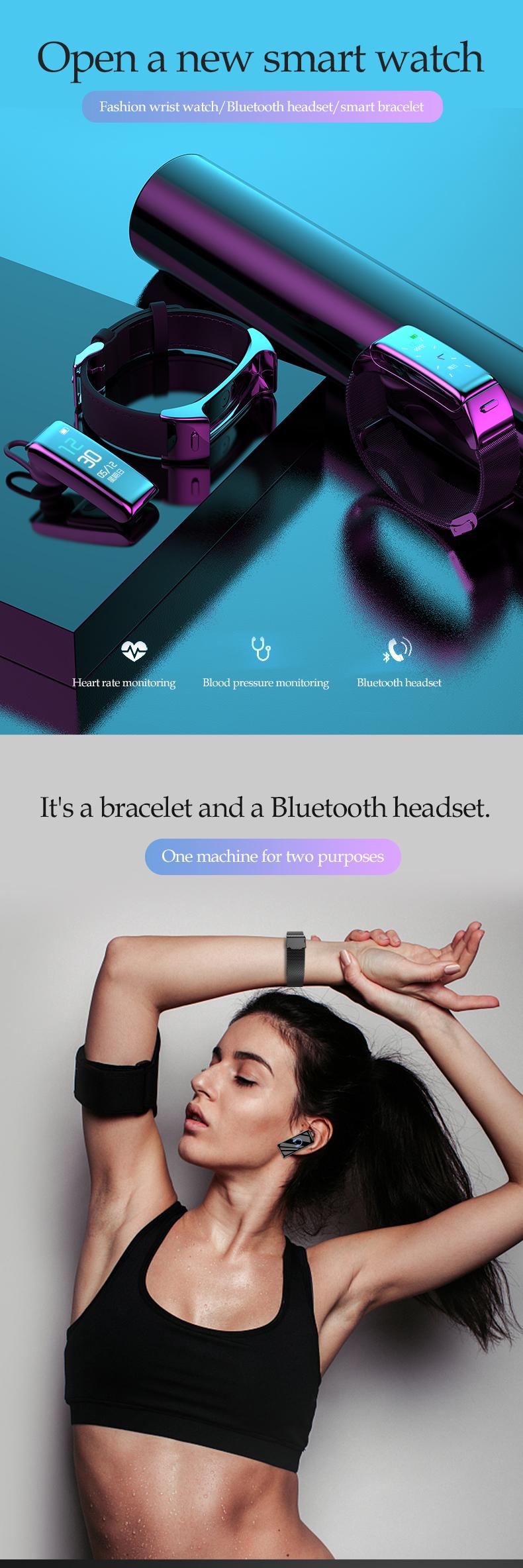 适用于Android iOS的防水智能手表耳机2合1智能手表耳塞