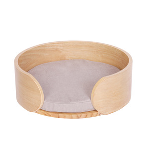 Pet Wood Round Sofa Bed For Small Cats And Dogs Cat Bed With Removable Cushion