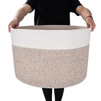 QJMAX Wholesales Amazon Hot Selling XXXL Large Collapsible Cotton Rope Woven Laundry Storage Basket
