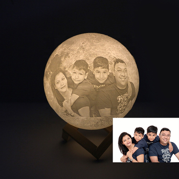 Multi-Size 16 Colors Custom Text 3d Photo Moon Lamp for Wedding Decoration