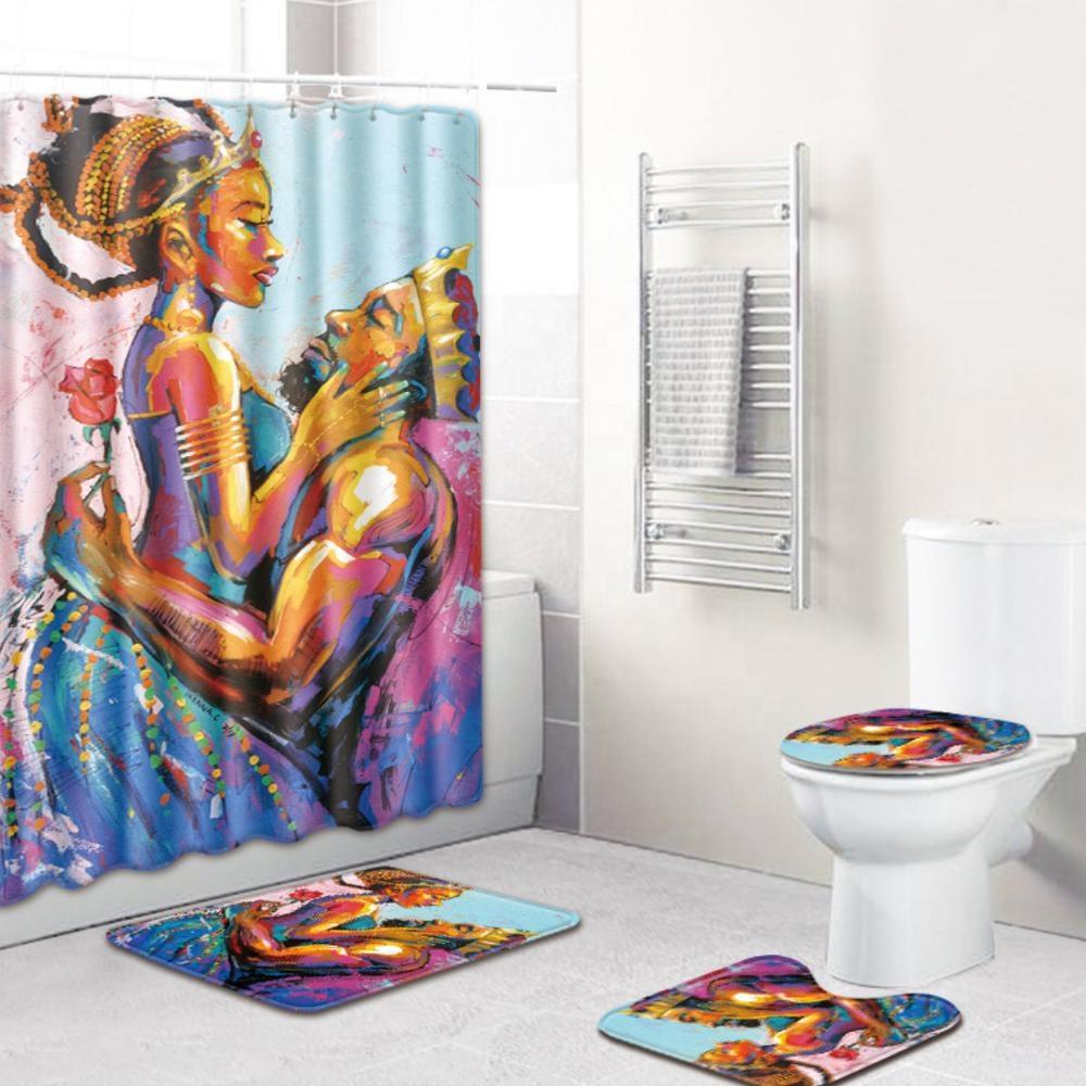 Sexy Reine et Roi Afro-américaine couple rideau de douche salle de bains ensembles