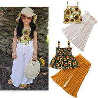 Instagram summer hot style stylish fashion european kids clothes sunflower print T wide leg pants strap girls clothing sets